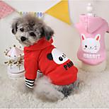 Hunde Kapuzenshirts Rot / Rosa Winter Karton Cosplay