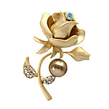 Women's Elegant Bride Jewelry Matte Gold Rhinestone Rose Brooch Wedding/Party Christmas Gift