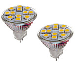 2PCS MR11 12LED SMD5050 6.5W  DC12V 600LM Warm White / Cool White Decorative