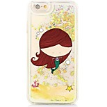 Mermaid Back Flowing Quicksand Liquid/Printing Pattern PC Hard Case For iPhone 6s Plus/6 Plus/6s/6/SE/5s/5