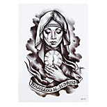 1pc Body Art Decal Tattoo for Women Men Nun Blessing Pray Christian Design Temporary Waterproof Tattoo Sticker HB-412