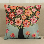1 PC Country Style Cotton/Linen Pillow Case 17 by 17 inch Floral Pattern