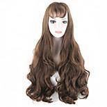 Long Fashion Wigs Dark Brown Gothic Lolita Heat Resistant Fiber Wavy Women Hairs wig