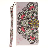 Painted Half Flower Pattern Card Can Lanyard PU Phone Case For Sony Z2 Z3 Z3mini M4