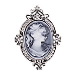Women's Fashion Diamante Crystal Antique Silver Vintage Brooch Pins Jewelry Queen Rhinestone Party Brooches