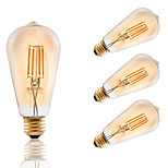 3.5W E26 LED Filament Bulbs ST21 COB 300 lm Amber Dimmable / Decorative AC 110-130 V 4 pcs