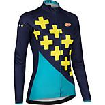 Sportivo Bicicletta/Ciclismo Top Per donna Maniche lungheTraspirante / Zip anteriore / Indossabile / Compressione / Pad 3D / Tessuto