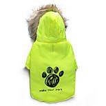 Katzen / Hunde Mäntel / Kapuzenshirts Grün Hundekleidung Winter Blumen / Pflanzen warm halten DroolingDog