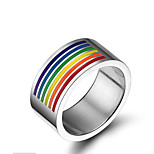 Band Rings Fashion 316LTitanium Steel Ring Casual 1pc Rainbow Rings Jewelry for Men and Women Christmas Gift