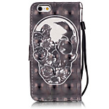3D Painted Black Skull Pattern PU Material Phone Case for iPhone iPhone 5/5S/5E/6/6S/6S Plus/6 Plus