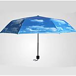 Blue Folding Umbrella Sunny and Rainy Textile Travel / Lady / Men