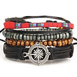 4pcs/set Punk Men's Bracelet PU Leather Bracelet Compass Adjustable Beads Multilayer for Men Fashion Jewelry