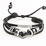 Punk Men's Bracelet PU Leather Bracelet Beads Charm Multilayer for Men Fashion Jewelry