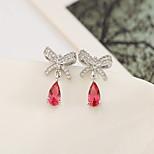 Women Alloy Silver Bow Hoop Earrings