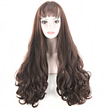 fashion women wigs natural heat resistant synthetic wigs with bangs long curly blonde wig Dark Bron