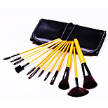 12 Makeup Brushes Set Synthetic Hair Portable Wood Face Others