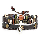 Punk Men's Bracelet PU Leather Bracelet Music Note Charm Multilayer for Men Fashion Jewelry