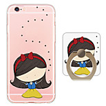 Cute Cartoon Girl Pattern Ring Holder Ultra-thin Translucent Soft TPU Back Cover for iPhone 6s Plus/6 Plus/6s/6/SE/5s/5