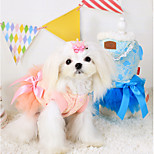 Dog Dress Blue Winter / Summer / Spring/Fall Solid / Bowknot Fashion / Casual/Daily Dog Clothes / Dog Clothing-Other