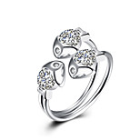Fine Sterling Silver Lovely Fish Diamond Statement Ring for Women Wedding Party