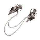novas punk gótico anjo asas roupas colarinho clipe de bronze prata broche de cadeia de jóias pins broches para o presente