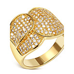 Women Luxury 18K Gold Plated Rings AAA Cubic Zircon Anti-Allergic Bridal Wedding Jewelry Environmental Friendly Material