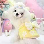 Dog Dress Blue / Pink / Yellow Winter / Spring/Fall Solid / Bowknot Casual/Daily Dog Clothes / Dog Clothing-Other