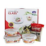 LOCK&LOCK 3/set Kitchen Kitchen Glass Lunch Box 175*130*64mm,140*140*67mm,75*155mm LLG428S911