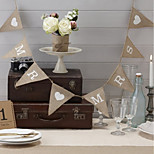Mr & Mrs Hessian Brown Jute Burlap Bunting - Wedding or Party Decoration Banner