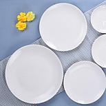 Round White Ceramic Platter Disc 8 Inch Steak Dish Western Dish Fruit Cake Plate Ceramic Tableware Hotel