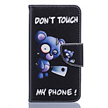 Cartoon Bear Pattern PU Leather Full Body Case with Stand and Card Slot for Nokia Lumia 650/550