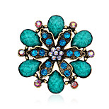 Women's Resin Leaf Large Crystal Rhinestone Gold Plated Flower Pins Jewelry Brooches For Party/Daily