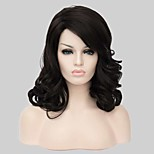 Fashional Black Long Wavy With Side Bang Synthetic Wig
