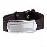 Fashion Men's Brown Geometric Pattern 316L Stainless Steel Leather Bracelets