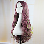 Fahion Curly Wave Hair pad Purple anime Cospaly wig 70CM Young long Synthetic Wig Perruque peluca peruca Lolita Wig