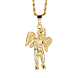 Lucky 316L Stainless Steel 18k Gold Angel Wings Pendant Necklace Men's Fashion Jewelry Long Chain Necklace