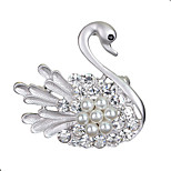 Women's Fashion Accessories Crystal Swan Rhinestone Simulated-Pearl Brooch Animal Lapel Pins Jewelry Brooches
