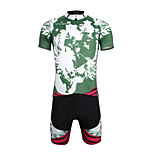 Breathable Paladin Summer Male Short Sleeve Cycling Jerseys Suit 100% Polyester DT656 Green Skeleton