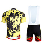 Cycling PaladinSport Men Shirt + Straps Shorts Suit DX660 Yellow Skeleton