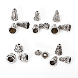 Beadia 86Pcs Mixed 6 Style & Sizes Antique Silver Alloy Beads Cap Metal Spacer Beads