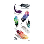 1pc Women Waterproof Temporary Tattoo Simulation Removable Vivid Body Art Colorful Feather Blue Orange 3D-03