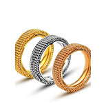 Men's Rings Titanium Steel Ring  Mesh Fashion Band Ring Fashion Jewelry Silver Gold Rings Jewelry for Men/Women