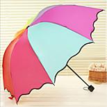 Assorted Color Folding Umbrella Sunny and Rainy Textile Travel / Lady / Men