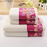 2 Pcs Full Cotton Bath Towel Set Super Soft Floral Pattern Strong Water Absorption Capacity Anti-microbico