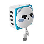 4 USB-Ports Schnelles Laden / Lade-Kit / Multi-Ports EU Stecker / US Stecker Tragbares Ladegerät mit KabelFür iPad / Für Mobiltelefon /