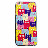 Cat Pattern Material Transparent TPU Phone Case for iPhone  6 6S  6 Plus 6S Plus