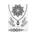 1pc Black Henna Temporary Tattoo Flower Pendant Necklace Woman Body Art Tattoo Sticker BJ013