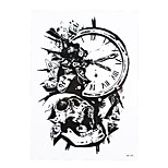 1pc Tattoo Sticker for Women Men Body Arm Art Temporary Beauty Death Skull Bone Clock Design Tattoo Sticker HB-390