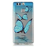 Butterfly 3D Relief Feeling Super Soft Pack Transparent TPU Phone Case for Huawei P9
