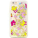 Back Flowing Pattern Heart Cake PC Hard Flowing Quicksand Liquid Case For Apple iPhone 6s Plus/6 Plus/6s/6/5s/5/SE